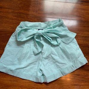 Lauren James Seafoam Seersucker Bow Shorts